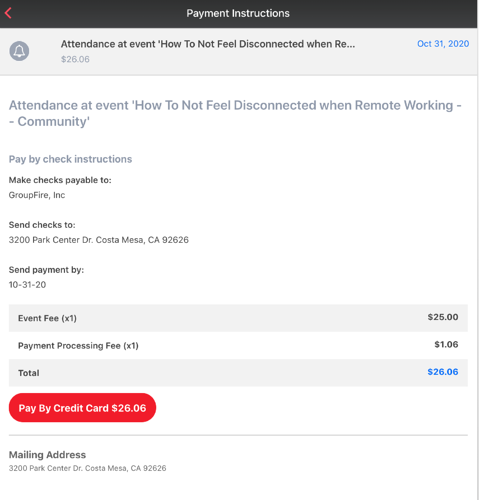 Manage event payments from the GroupFire apps