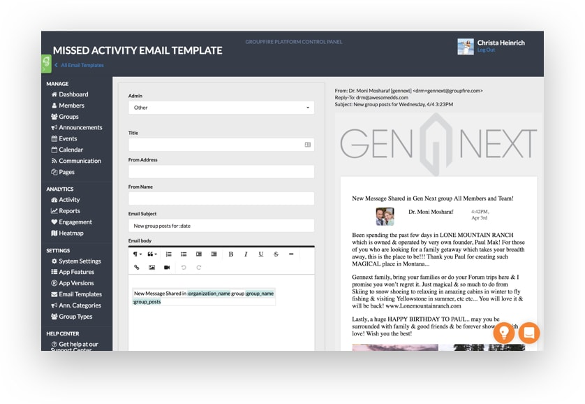Send emails based on member and app activity